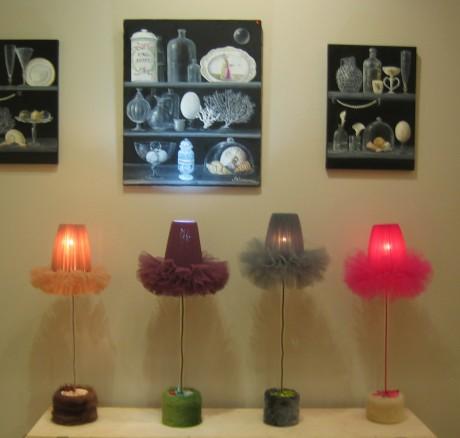 Lampes Marie Fiore et tableaux de Brigitte Couroureux