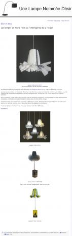 article paru sur le blog Une Lampe Nommée Désir
